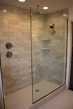 Doorless Walk In Shower Designs. shower handle on separate wall