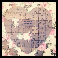 Personalised Heart Shaped Wooden Jigsaw Wedding Guestbook