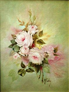 Antique green background &pink roses♧