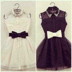 Inspiração!! :D #vestidobranco #vestidopreto #laço
