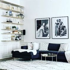 A Swedish sitting room with a touch of old school glam. Full tour on the blog today. Credit @mainstreetsthlm #sittingroom #shelves