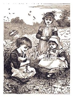 Victorian Girls Image Digital Antique Art Daisy by TuiTrading