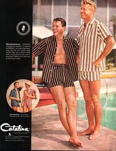 Cabana Outfits for men - vintage ad for Catalina of California swimwear. - Tap the link to shop on our official online store! You can also join our affiliate and/or rewards programs for FREE! Vintage Outfits, Vintage Fashion, Men's Fashion, Vintage Swimsuits, Man Swimming, Costume, Vintage Advertisements, Vintage Men, Men Dress