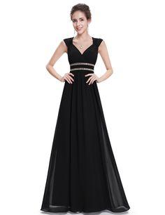 V-Ausschnitt Elegant Lang Empire Abendkleid Schwarz