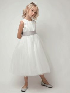 Satin & Tulle Flower Girl Dress with Elegant Bow-comes in ivory-$40