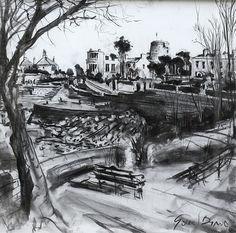 'Sandycove Park' Gerard Byrne, charcoal on canvas, Sandycove, Ireland, www.gerardbyrneartist.com