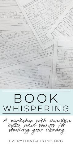 Book Whispering: A Workshop with Donalyn Miller plus Resources for Stocking your Classroom Library Readers Notebook, Readers Workshop, Writing Workshop, Reading Strategies, Reading Comprehension, 40 Book Challenge, Book Whisperer, 6th Grade Reading, Reading Homework