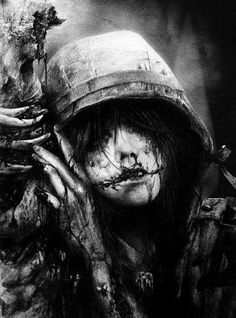 art, b&w, black and white, blood, creepy, darkness, girl, horror, night, photography, scary