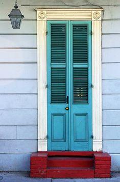 New Orleans Door by Mark Interrante (aka pinhole), via Old Doors, Windows And Doors, Exterior Colors, Exterior Paint, New Orleans Homes, Unique Doors, Door Knockers, Door Knobs, Painted Doors