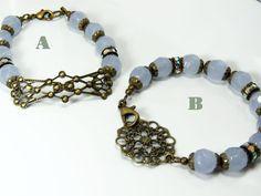 Purple Czech Glass Bracelet Brass Filigree Bracelet by ksyardbird
