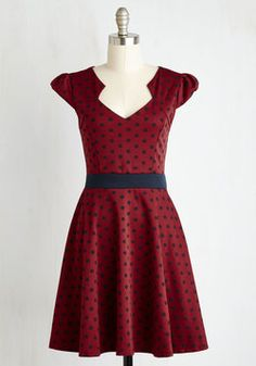 Possible Leave it to Black Widow Dress  The Story of Citrus Dress in Burgundy Dot. It was as if the fates knew you'd been looking for that perfect spotted frock to add some serious style to your day-to-day wardrobe. #red #modcloth