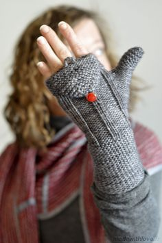 """Borough """"Made with Love"""" and vintage glass buttons were purchased on Etsy to finish off these lovely mittens"""