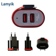 Universal Dual Port USB Portable Phone Charger Wall Charger Smart Phone Travel Charger with Foldable Cable Carregador 5V 3.4A