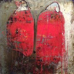 """""""Red Birds"""" -mixed media on cradled wood panel by Jacqui Fehl"""