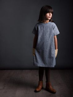 Loving The Raglan Dress for Girls by The Avid Seamstress, it'd look great made in our Robert Kaufman Essex Linens...  www.drapersdaughter.com  #sewing #dressmaking #girls