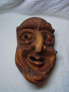 Vintage German Black Forest Carved Wood Wall Mask Witch #AZ3 #BlackForest