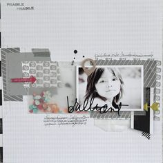 S-photo time: Gossamer Blue: May's scrapbook layout- simple band design made of layered bits( great for the budget and scraps), black and white photo, love the vellum bag with sequins