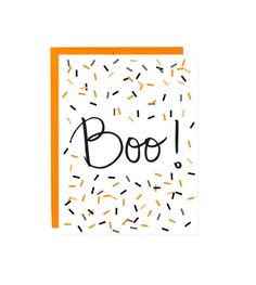 Boo and Confetti  Hand Drawn Halloween Card  by FloatingSpecks, $4.50