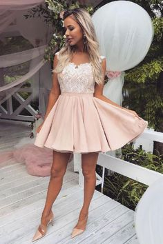 Buy Cute Pink Lace Satin Above Knee Homecoming Dresses, Sweet 16 Dresses online. Rock one of the season's hottest looks in a burgundy homecoming dress or choose a timeless classic little black dress. Dresses Short, Hoco Dresses, Sweet 16 Dresses, Sweet Dress, Dance Dresses, Sexy Dresses, Elegant Dresses, Woman Dresses, Summer Dresses