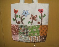Bolsa em tecido e patchwork