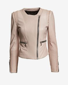 Barbara Bui EXCLUSIVE Collarless Stud Leather Jacket: Tonal stitching and studs create eye-catching texture. Two front zipper pockets and zippers at sleeves. In ...
