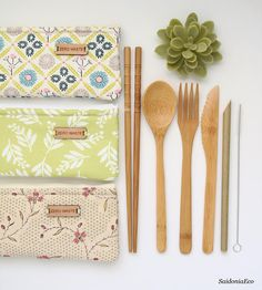 Eco-friendly cutlery set with zippered bag. These reusable bamboo utensils are great, zero waste alternative to throw-away, single-use plastics. For a waste-free life on the go, simply slip the pouch inside your bag, lunch box, or keep a set in your desk. With this listing you will