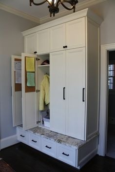 Like large cabinet, not individual so can be one large coat closet. Upper cabinet good for umbrellas and winter stuff. lockers with doors Entryway Storage Solutions Mudroom Cabinets, Mudroom Laundry Room, Storage Cabinets, Coat Closet Organization, Entryway Organization, Organization Ideas, Mudroom Storage Ideas, Entryway Storage Cabinet, Cabinet Closet