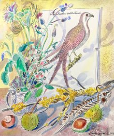 Emily Sutton 'Swallow Tail'd Hawk' watercolour for 'Airs, Reels and Ballads', an exhibition in Edinburgh in November 2017 https://www.airsreelsballads.com