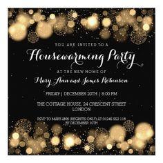 Elegant Winter Housewarming Party Gold Invitation