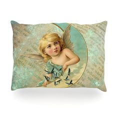 "Suzanne Carter ""Angel"" Teal Yellow Outdoor Throw Pillow"