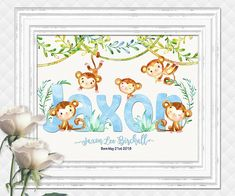 Monkey custom name print for baby boy personalized nursery art kids room wall decor shower decoration digital print blue green jungle poster Baby Room Wall Decor, Baby Girl Nursery Decor, Playroom Decor, Nursery Art, Kids Artwork, Kids Room Art, Art For Kids, Baby Shower Welcome Sign, Baby Shower Signs