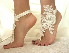 Barefoot Sandals french lace Nude shoes by byPassion Foot Jewelry Wedding, Wedding Sandals For Bride, Barefoot Sandals Wedding, Bridal Shoes, Wedding Garter Lace, Lace Bride, Bare Foot Sandals, Lace Up Sandals, Shoes Sandals