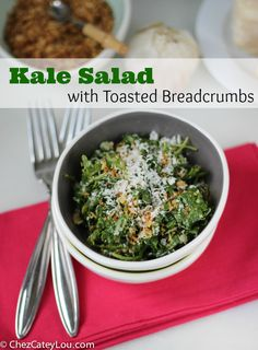 Kale is tossed in a light lemon vinaigrette and topped with cheese and toasted breadcrumbs, which are the star of the show! This kale salad is simple and delicious!