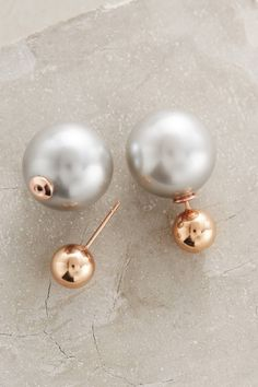 at anthropologie Palazzo Pearl-Backed Studs in copper