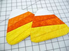 Candy Corn Mug Rugs  Coasters  Set of Two by SewSweetSparrow