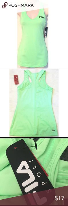 """❣BOGO 1/2 off❣🆕Fila Sport racerback long tank top NWT, flawless. Racerback. Color is a lighter shade of neon green. Poly/spandex. Small. Approx 28"""" long & 15"""" flat across chest. Very stretchy. ✖️I do NOT MODEL✖️ 🔴Bundle to save! 🔴NO TRADES. 🔴REASONABLE offers welcome via offer button. Fila Tops Tank Tops"""