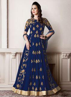 Navy Blue Faux Georgette Floor Length Anarkali Suit 90097