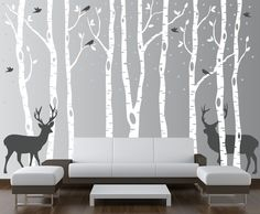 Birch Tree Wall Decal Forest with Snow Birds and Deer Vinyl Sticker Removable (9 trees) 9 feet tall 1161.