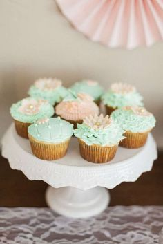 Cupcakes at a peach & mint baby shower  party! See more party ideas at CatchMyParty.com!