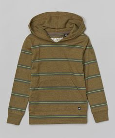 Look at this #zulilyfind! Micros Heather Olive & Green Stripe Hoodie - Toddler & Boys by Micros #zulilyfinds