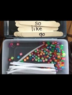 Sight Word Dice – Miss Kindergarten Sight Word building with letter beads. Write the words on jumbo craft sticks, then provide kids with a letter bead box and pipe cleaners. Teaching Sight Words, Sight Word Practice, Sight Word Activities, Literacy Activities, Sight Word Centers, Spelling Practice, Spelling Ideas, Teaching Letters, Spelling Activities