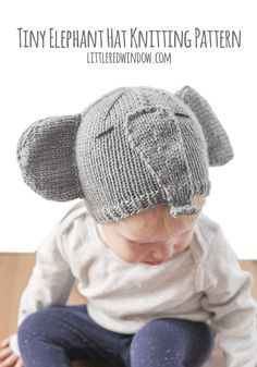 Knit up this cute elephant hat with big floppy ears and an adorable trunk with my newest knitting pattern!