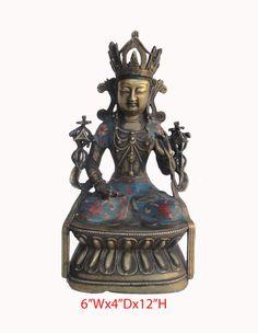 Tibetan Antique Cloisonne Brass Tara QianLong Style Sitting KwanYin Statue