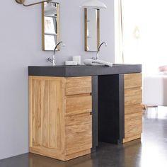 Meuble Salle de bain en teck et terrazzo 140 Mary Jo Terrazzo, Vanity, Bathroom, Tree Furniture, Furniture Collection, Solid Wood, Home, Dressing Tables, Washroom