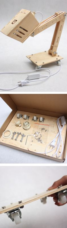 DIY Task Lamp Kit - so adorable! I'm tots gonna make this Lamp Design, Lighting Design, Task Lighting, Wood Projects, Woodworking Projects, Laser Cut Lamps, 3d Laser Printer, 3d Cnc, Task Lamps