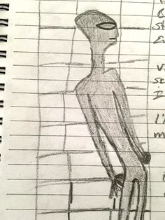 Witness sketch of the alien. (Credit: MUFON)