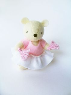 Sweet Cheerleader Bear with Pink Pom Poms White by Whimsylandia on Etsy.