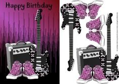 pink punk rock guitar and basketball boots card front on Craftsuprint designed by Michelle Johnson - this is a card front with decoupage of a punk rock guitar, amplifier and basketball boots which makes a great card for any emo, punk rocker, rock chick, goth or other occassions - Now available for download!