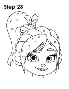 Learn how to draw Vanellope from Disney's Wreck-It Ralph with this step-by-step tutorial and video. A new cartoon drawing tutorial is uploaded every week, so stay tooned! Easy Disney Drawings, Disney Sketches, Easy Drawings, Art Drawings Sketches, Kawaii Drawings, Cartoon Drawings, Disney Drawing Tutorial, Sketches Tutorial, Disney Kunst
