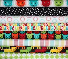 Roar fabric bundle by Print and Pattern for Robert Kaufman, Roar Dots in Bright-1 Yard